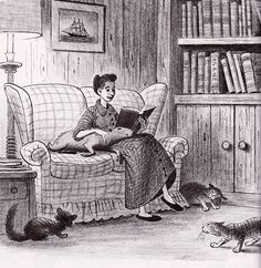 Capyboppy on Bill's Mother's Lap, Looking So Happy, Loving the Attention.   Drawing by Bill Peet